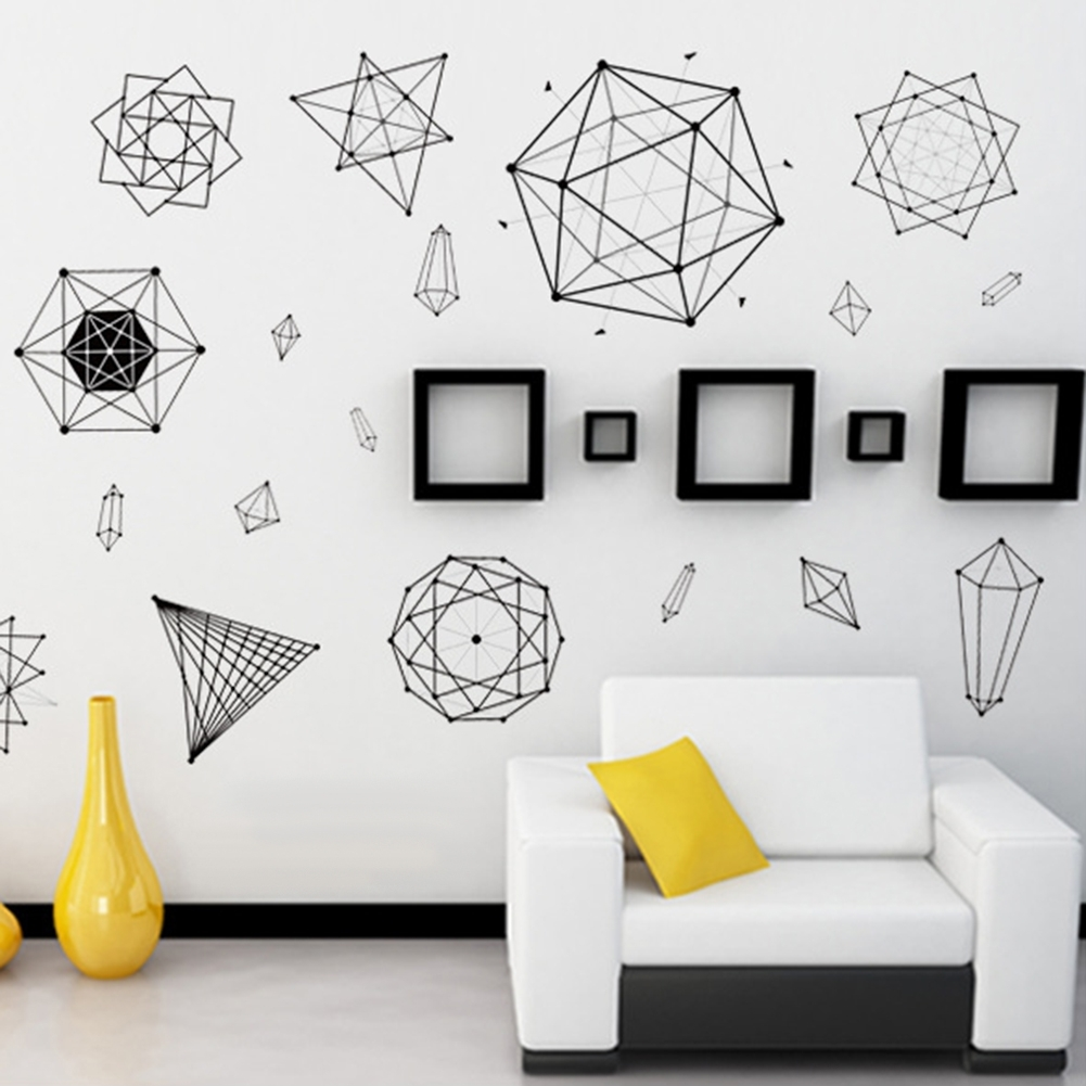 Minimalist Geometric Wall Art Sticker Decal Home School Classroom Inside 2017 Geometric Wall Art (View 16 of 20)