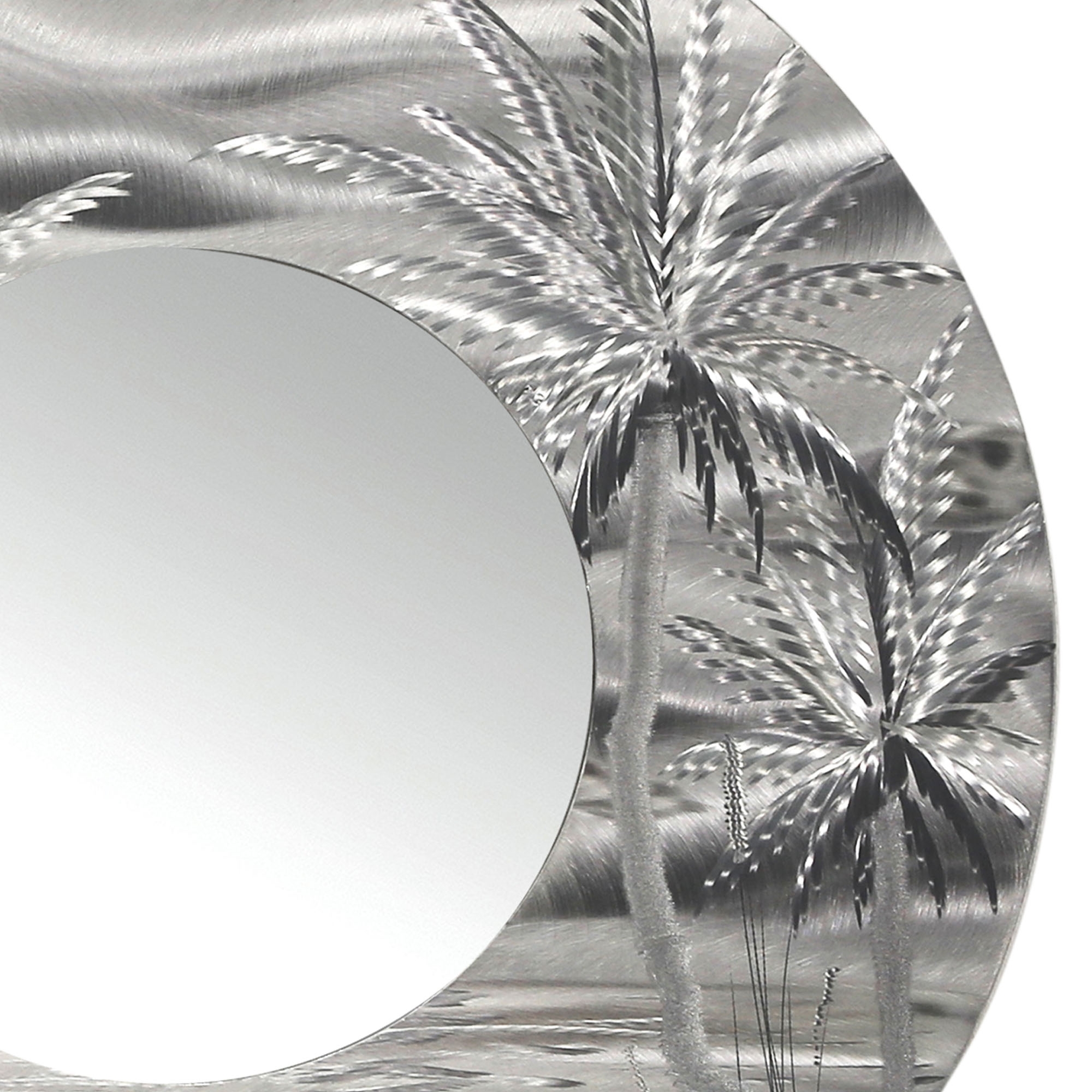 Mirror 106 – Modern Tropical Metal Wall Mirror – Silver Abstract Intended For Most Up To Date Tropical Wall Art (Gallery 19 of 20)