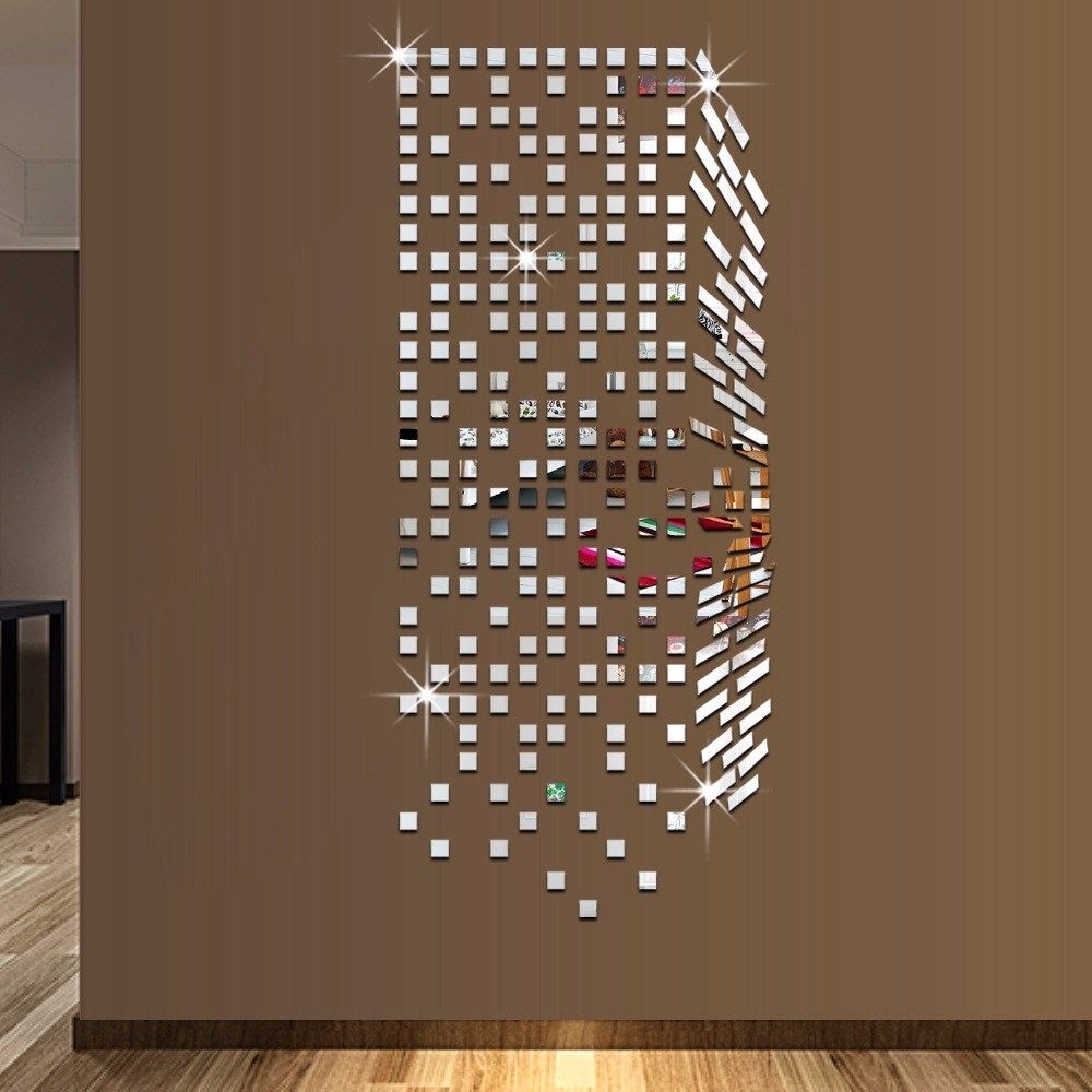 Mirror Mosaic Background Wall Stickers Home Decor Diy Creative With 2017 Mirror Mosaic Wall Art (View 6 of 20)