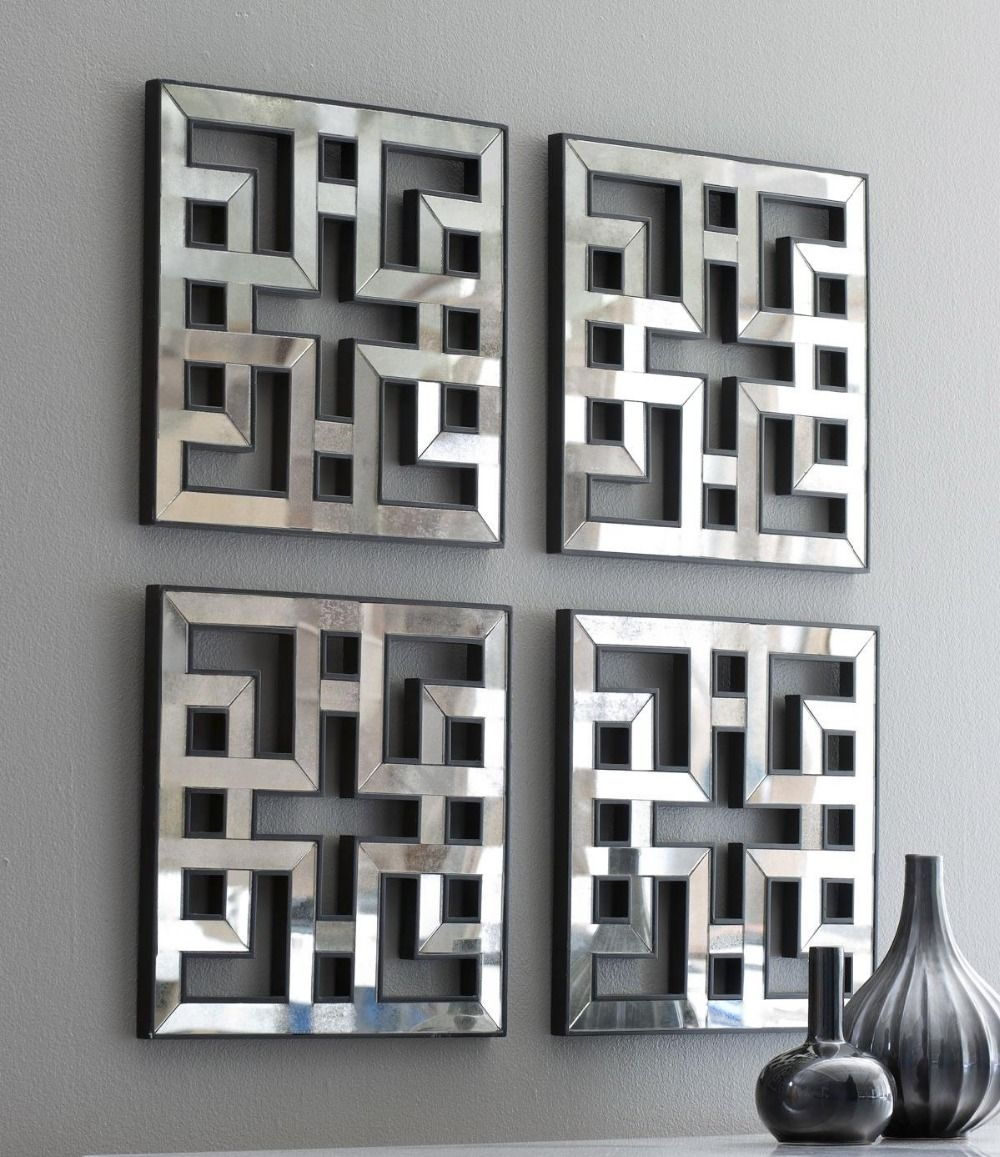 Mirrored Wall Decor Fretwork Square Mirror Framed Wall Art D F1308 Pertaining To Most Current Mirrored Wall Art (View 12 of 20)