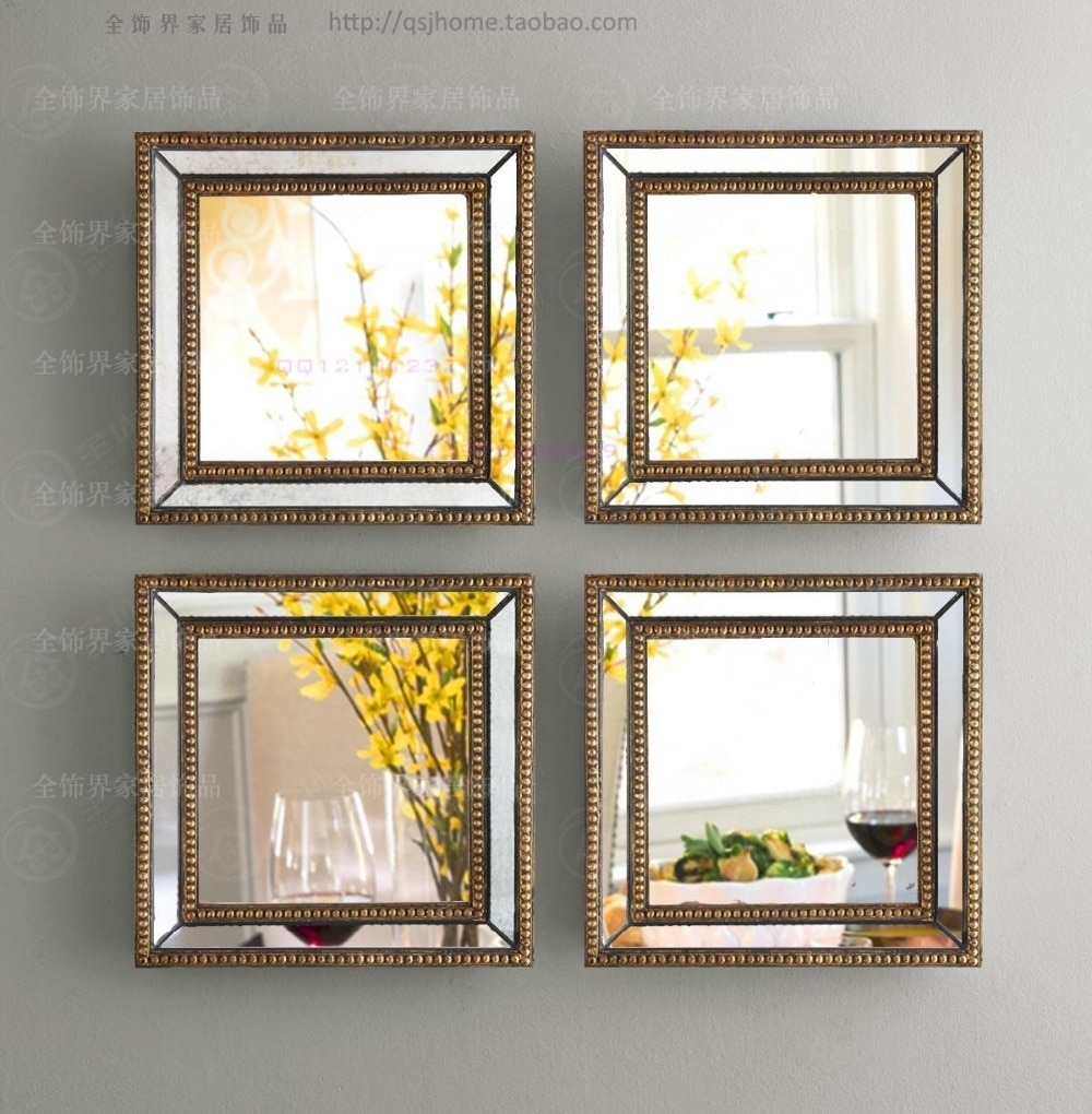 Mirrored Wall Decor Fretwork Square Wall Mirror Framed Wall Art Set With Recent Framed Wall Art (View 15 of 15)