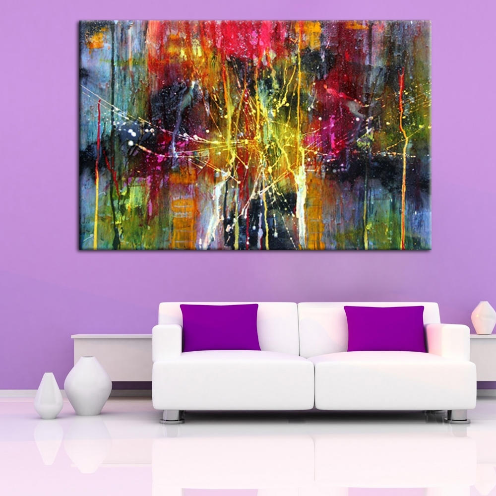 Modern Abstract Art Handmade Oil Painting On Canvas For Wall Intended For Most Up To Date Modern Abstract Painting Wall Art (View 6 of 20)