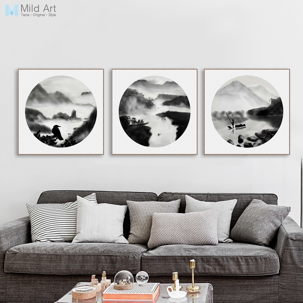 Modern Abstract Landscape Oriental Chinese Ink Canvas Print Poster Intended For Most Up To Date Oriental Wall Art (View 8 of 20)