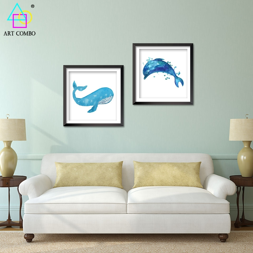 Modern Art Blue Whale Dolphins Paintings On Canvas Wall Art Picture Regarding Most Up To Date Whale Canvas Wall Art (View 13 of 20)