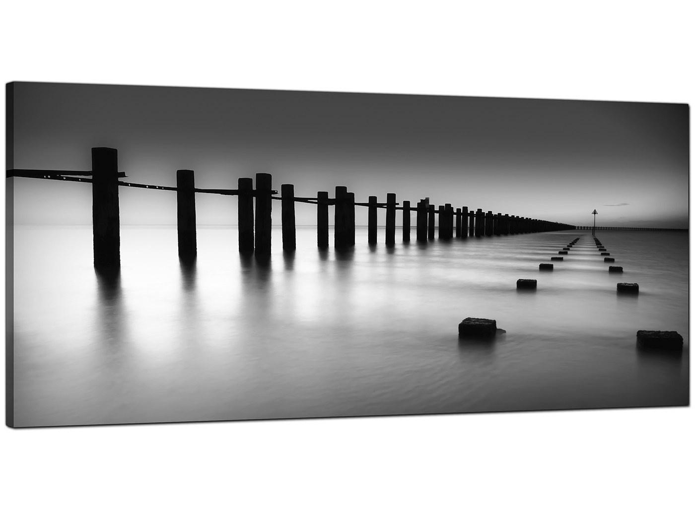 Modern Black And White Canvas Art Of The Sea Regarding Newest Black And White Large Canvas Wall Art (Gallery 3 of 20)