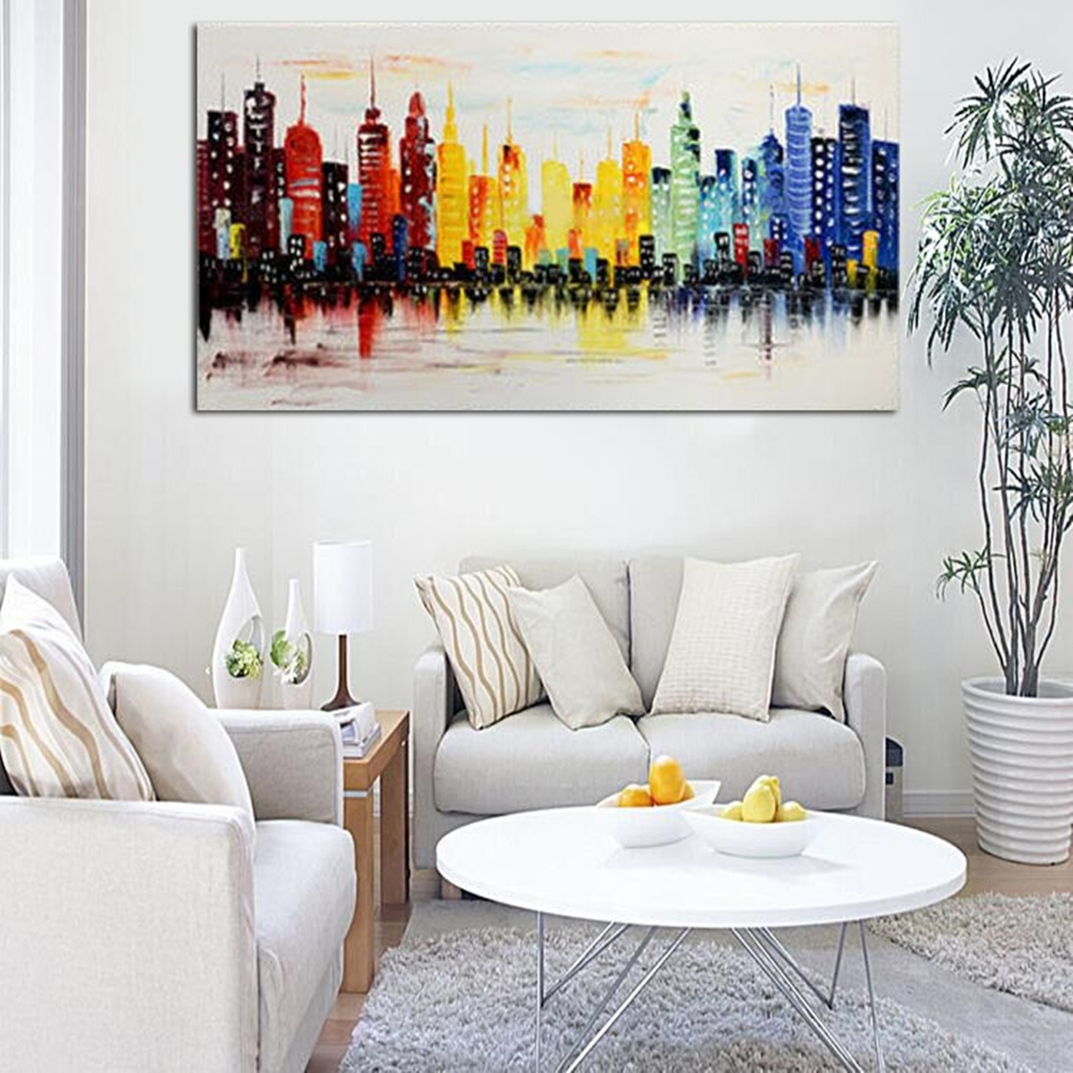Modern City Canvas Abstract Painting Print Living Room Art Wall Within Recent Art Wall Decor (View 11 of 20)