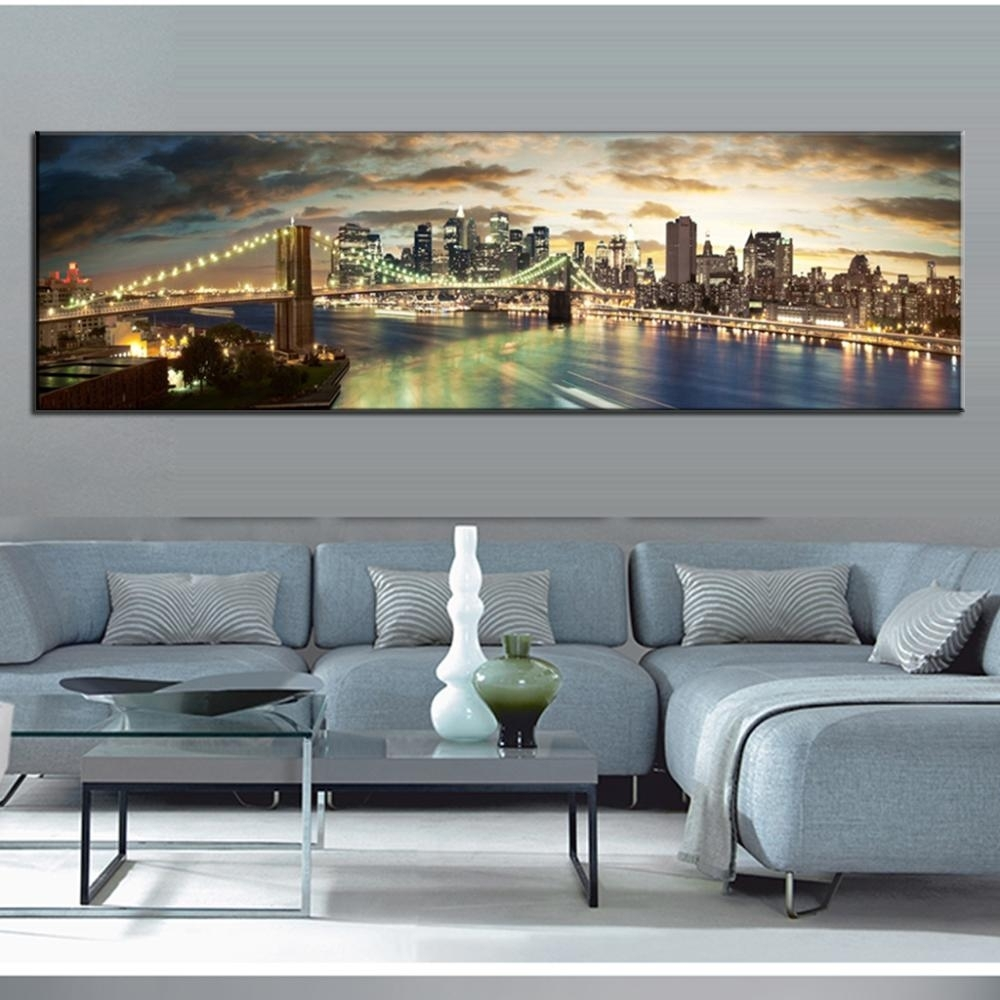 Modern Landscape Painting The Brooklyn Bridge Canvas Prints Large Intended For Newest Modern Large Canvas Wall Art (View 20 of 20)
