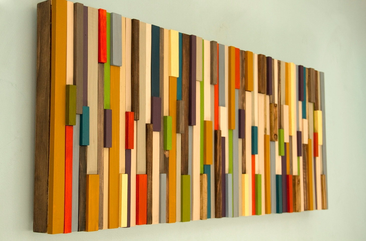 Modern Large Wall Art, Reclaimed Wood Art Sculpture, Painted Wood With Regard To Most Recently Released Wood Art Wall (Gallery 13 of 15)