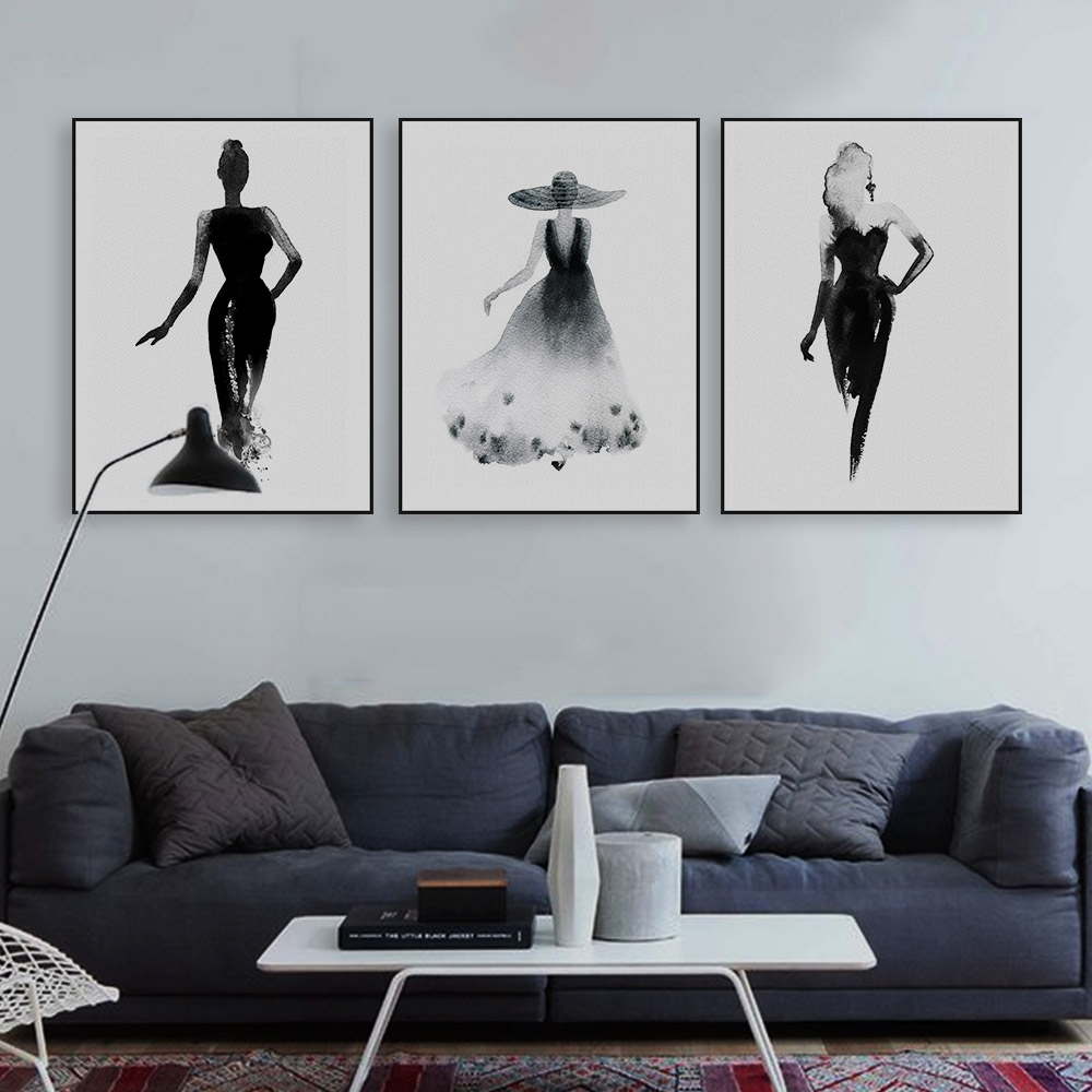 Modern Nordic Black White Fashion Model Large Canvas Art Print Intended For Most Popular Black And White Large Canvas Wall Art (Gallery 12 of 20)