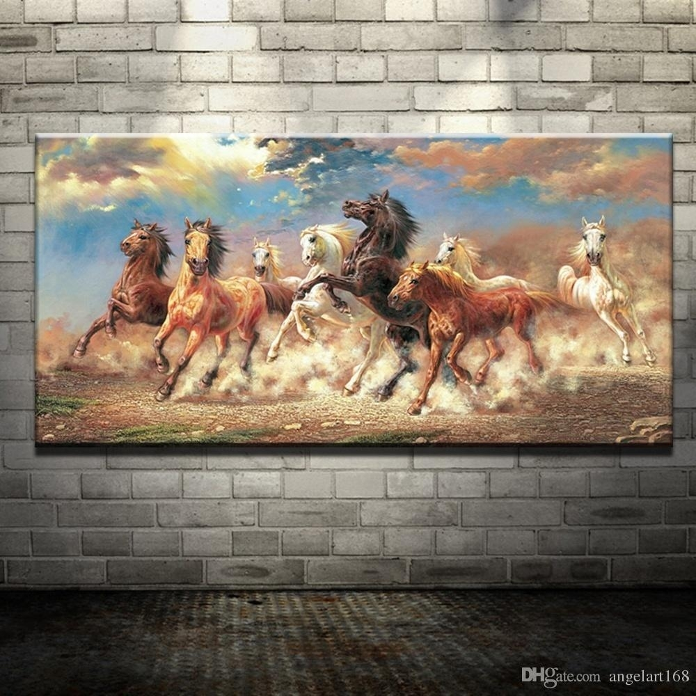 Modern Oil Painting No Frame Abstract Horses Canvas Animal Giclee Inside Most Recently Released Horses Wall Art (View 12 of 20)