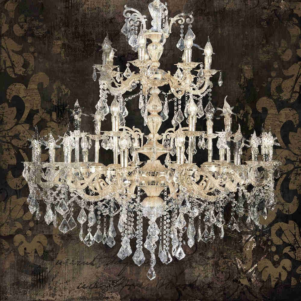 Modern Still Life Painting Canvas Art Crystal Chandelier Pattern Pertaining To 2017 Chandelier Wall Art (View 13 of 20)