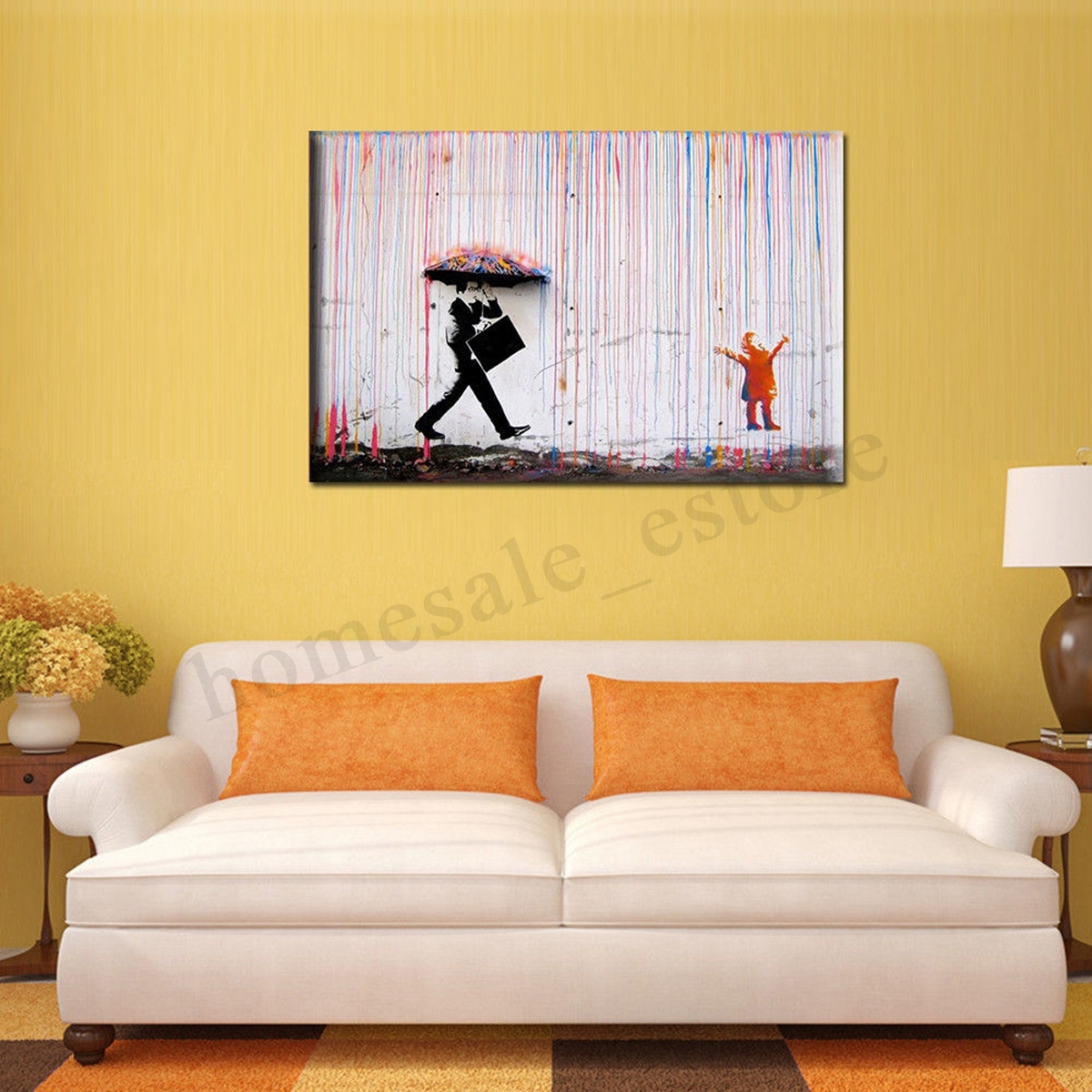 Modern Vogue Rain Walk Art On Canvas Watercolor Painting Wall Decor In Most Recently Released Modern Framed Wall Art Canvas (Gallery 18 of 20)