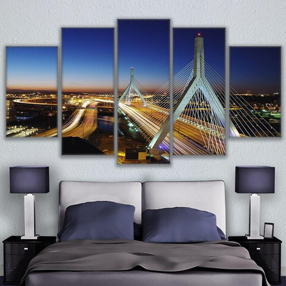 Modern Wall Art Canvas Hd Prints Painting Frame Modular Poster 5 Inside Most Current Boston Wall Art (Gallery 2 of 20)