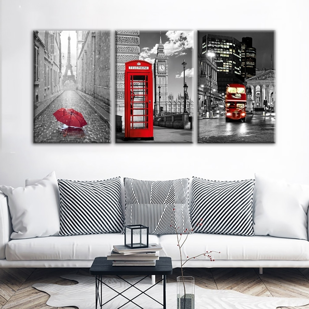 Modern Wall Art Framework Canvas Pictures 3 Pieces Paris Black White Intended For Newest Paris Wall Art (Gallery 2 of 15)
