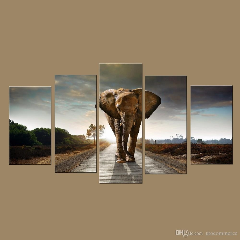 Modern Wall Art Prints Canvas Elephant Painting From Digital Picture With Most Recent Elephant Wall Art (View 2 of 15)