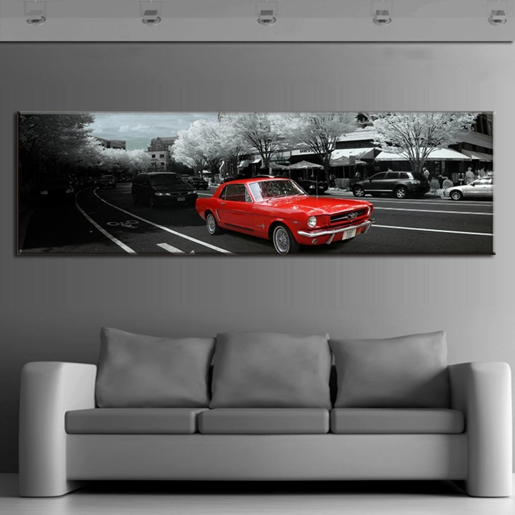 Modern Wall Paintings The City Red Car Canvas Prints Wall Art Large With Regard To Recent Car Canvas Wall Art (Gallery 18 of 20)