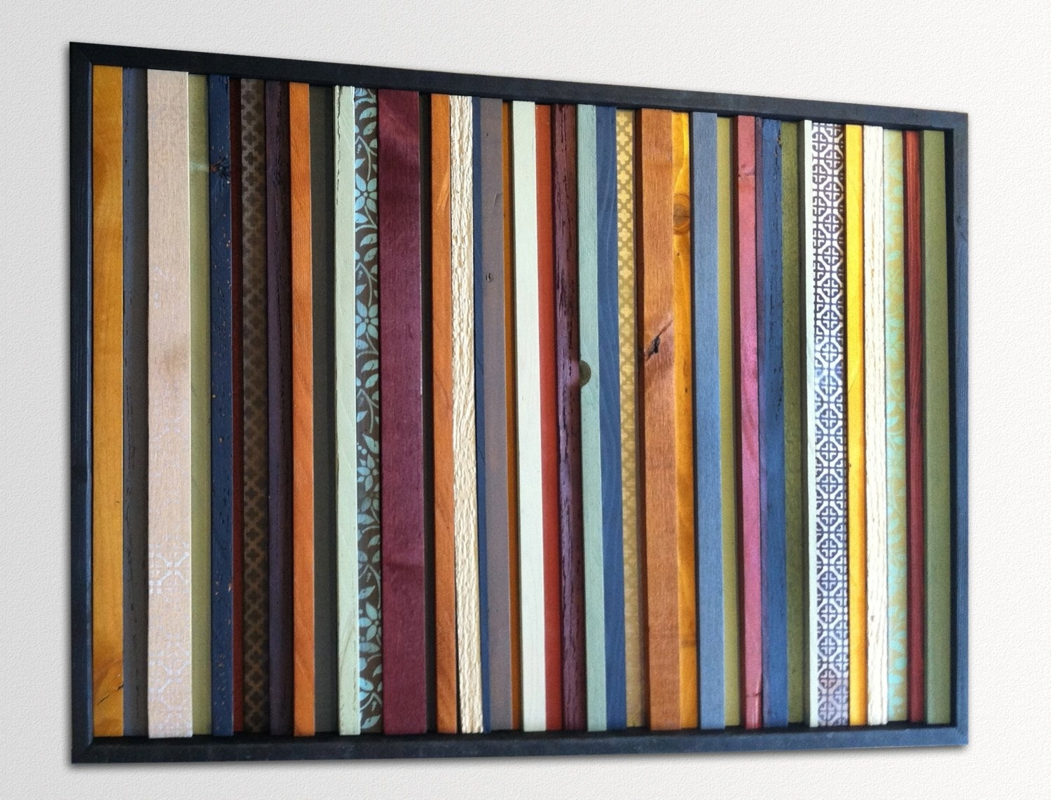 Modern Wood Wall Art – India – Wood Stripes In Orange, Yellow, Blues Throughout Most Up To Date Orange Wall Art (View 15 of 20)
