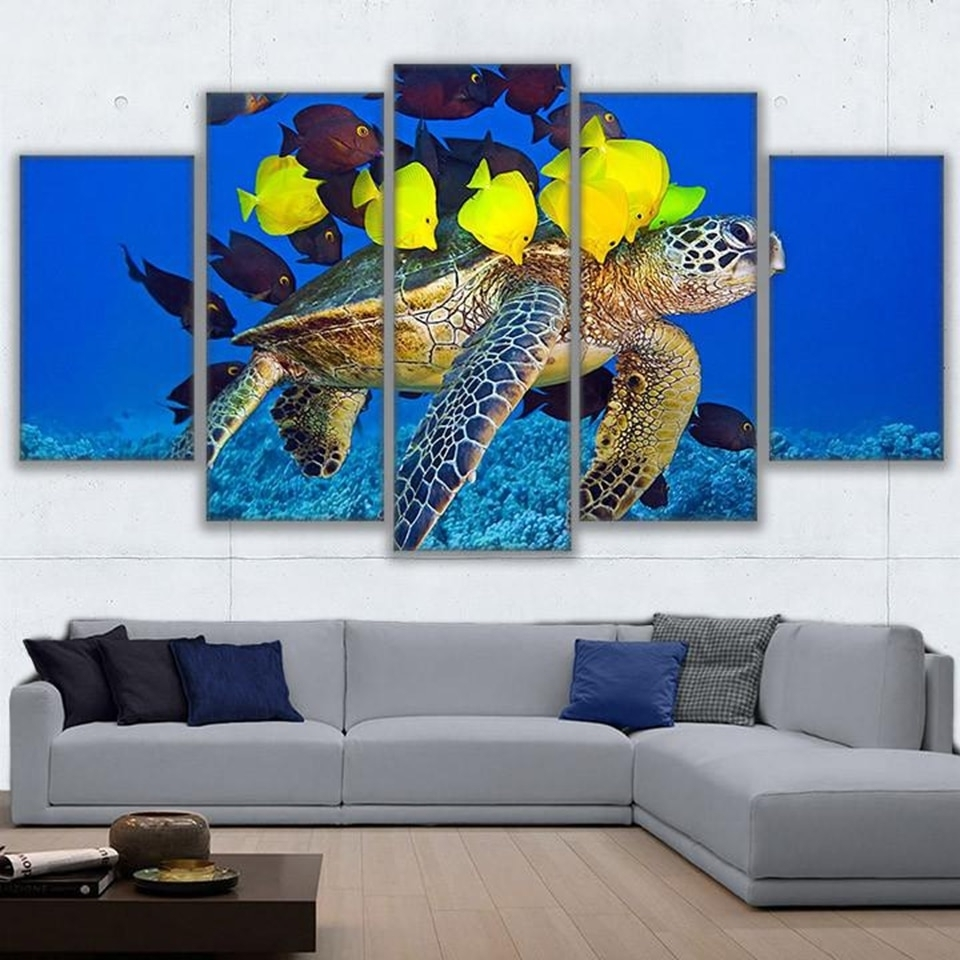 Modular Canvas Hd Print Poster Wall Art 5 Panels Fishes And Turtle Inside Best And Newest Sea Turtle Canvas Wall Art (View 18 of 20)
