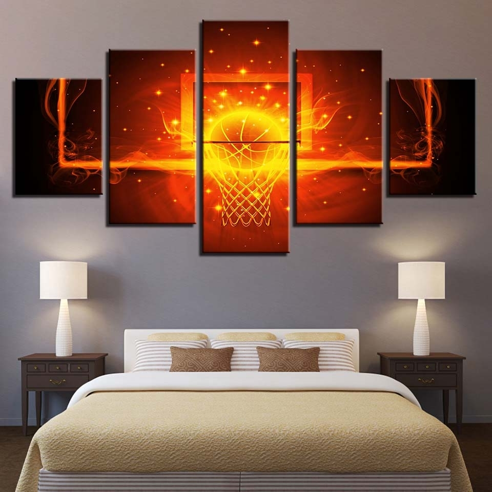 Modular Canvas Poster Wall Art Framework 5 Pieces Fire Basketball For 2017 Basketball Wall Art (View 10 of 15)