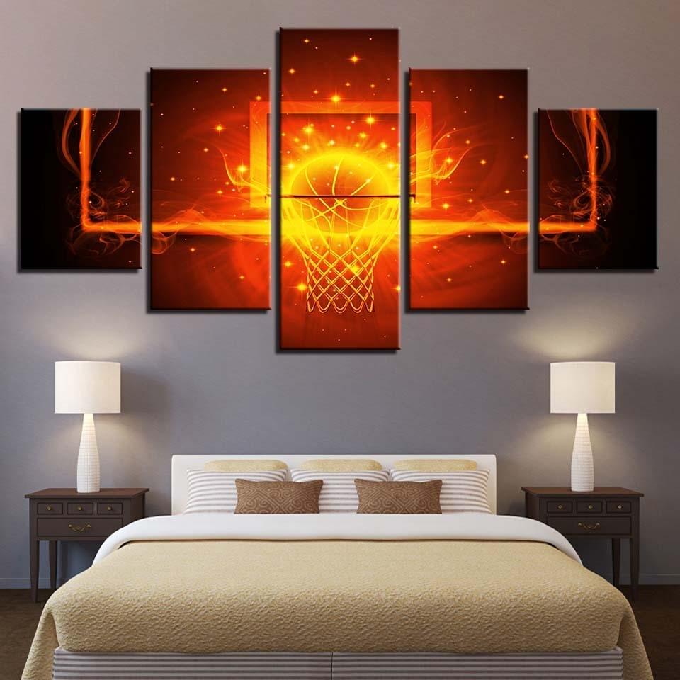 Modular Canvas Poster Wall Art Framework 5 Pieces Fire Basketball For 2017 Basketball Wall Art (Gallery 10 of 15)