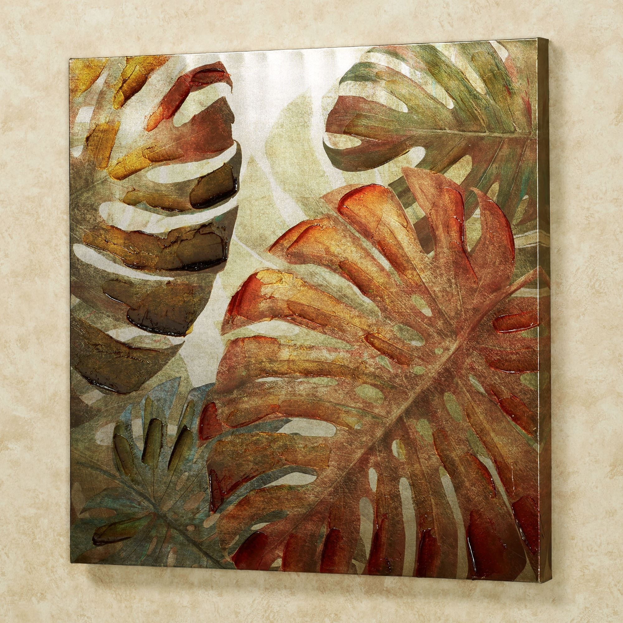 Monstera Palm Leaves Tropical Canvas Wall Art For Current Tropical Wall Art (View 2 of 20)
