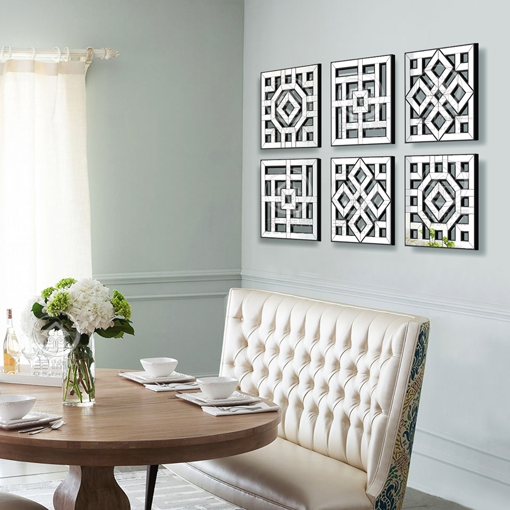Morden Wall Mirror Square Mirror Mirrored Wall Decor Fretwork Mirror Pertaining To Latest Mirrored Wall Art (Gallery 19 of 20)