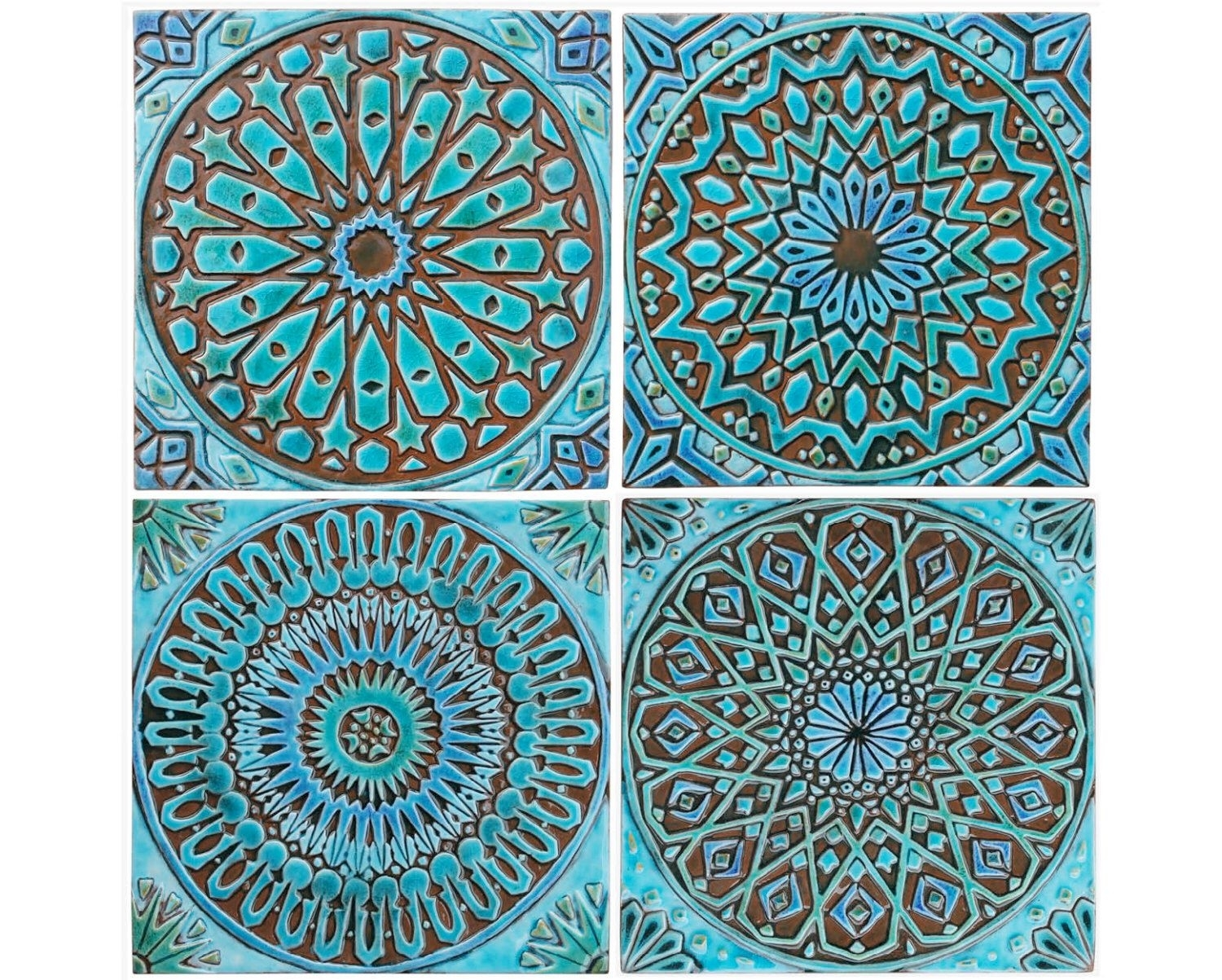 Moroccan Decor, Set Of 4 Moroccan Tiles, Moroccan Wall Art, Outdoor Intended For Most Recent Moroccan Wall Art (Gallery 9 of 20)