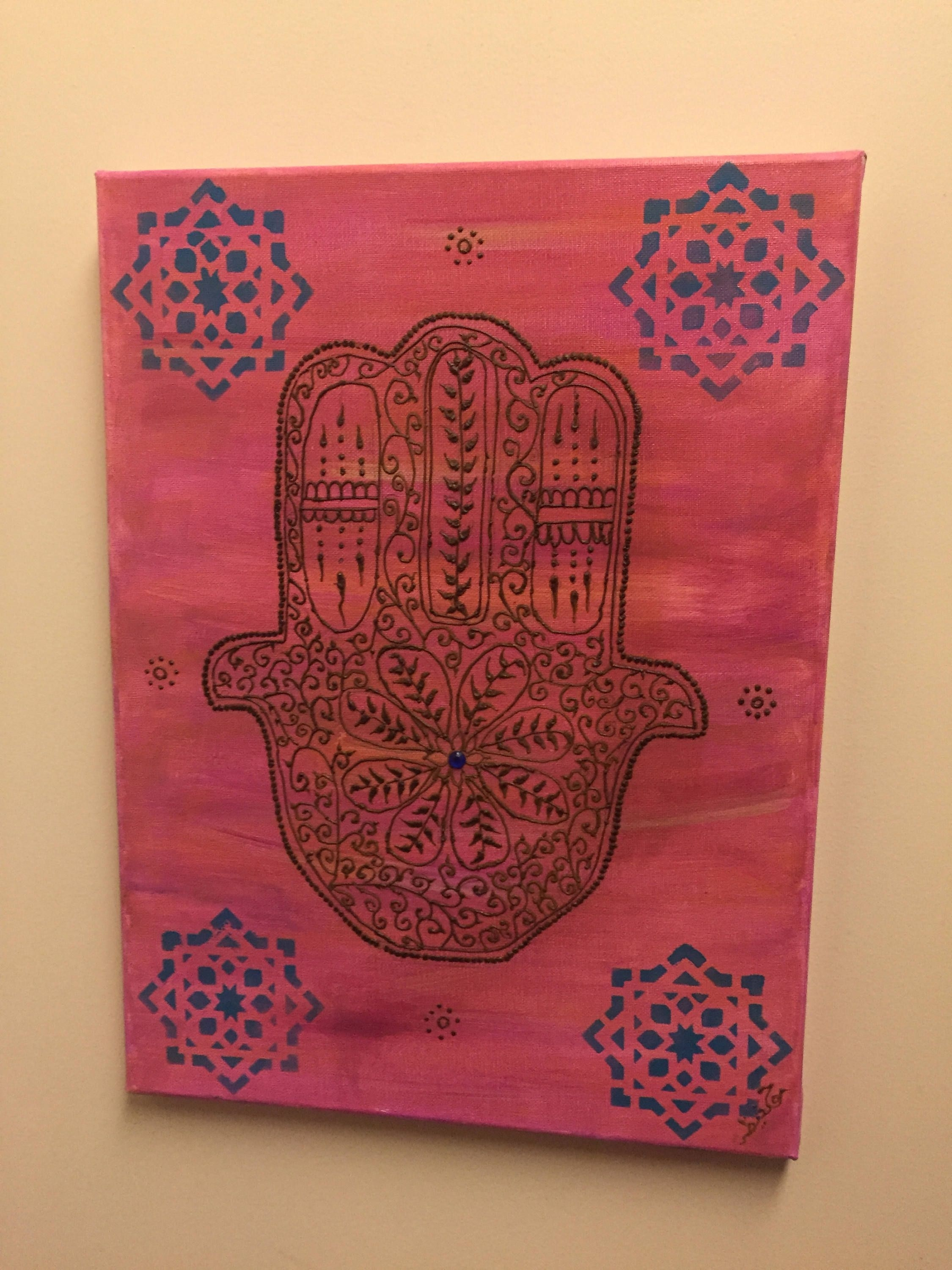 "Moroccan Hamsa Wall Art, Moroccan Art, Henna Wall Art, ""henna Art With Regard To Most Up To Date Henna Wall Art (Gallery 6 of 20)"