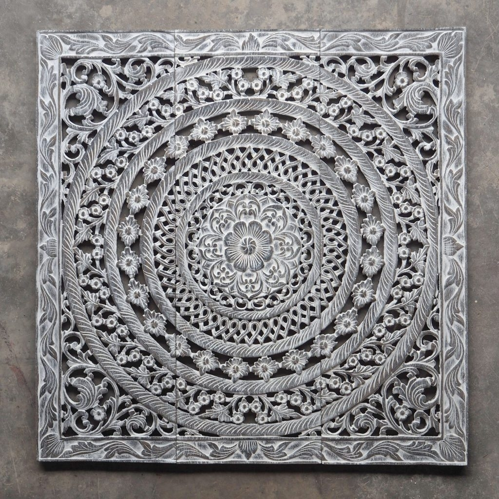 Morrocan Design Carved Wood Wall Art Panel From Thailand Distress Within Recent Carved Wood Wall Art (Gallery 11 of 15)