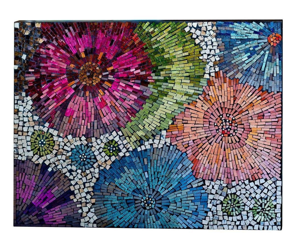 Mosaic Wall Art Inspirational Mosaic Art Flower | Wall Art Ideas Intended For Latest Mosaic Wall Art (View 11 of 15)