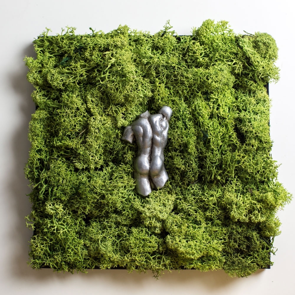 Moss Wall Art With Italian Sculpture, Wedding Gift, Nature Art With Most Recently Released Moss Wall Art (View 6 of 20)