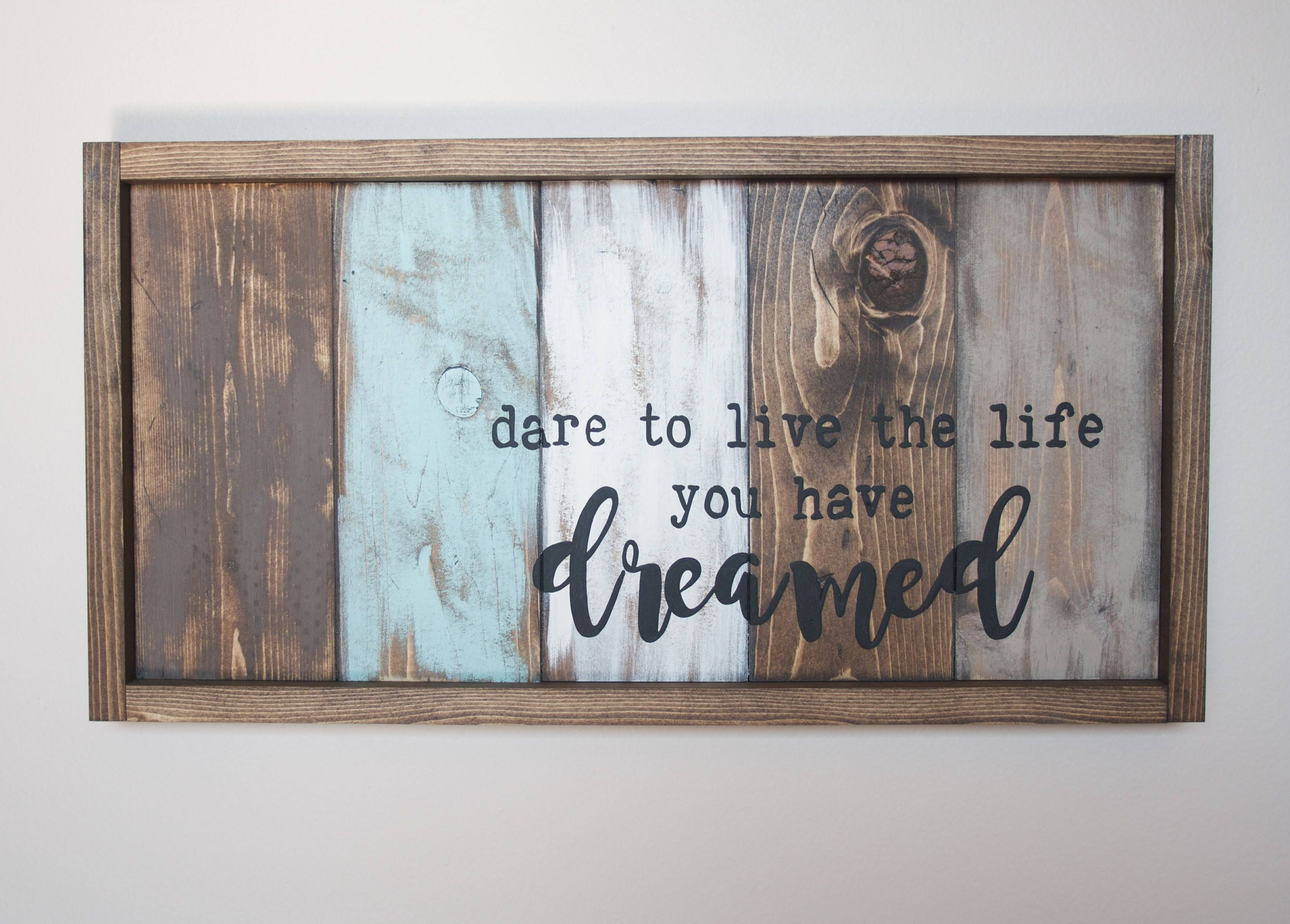 Motivational Wall Decor – Live The Life You Love – Pallet Wall Art With Regard To Most Current Pallet Wall Art (View 3 of 15)