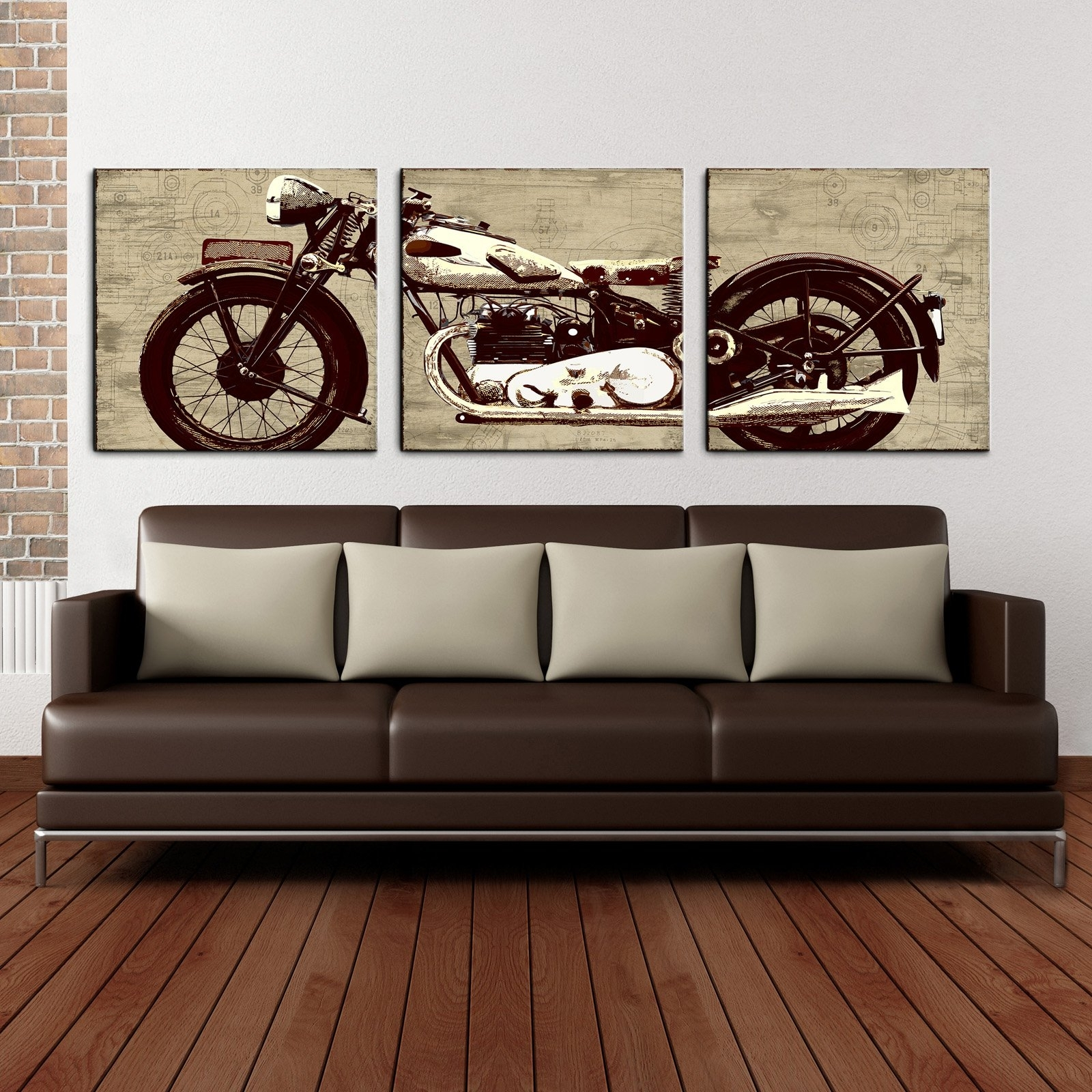 Motorcycle 24 X 72 Canvas Art Print Triptych – Walmart With Regard To Newest Motorcycle Wall Art (Gallery 8 of 20)