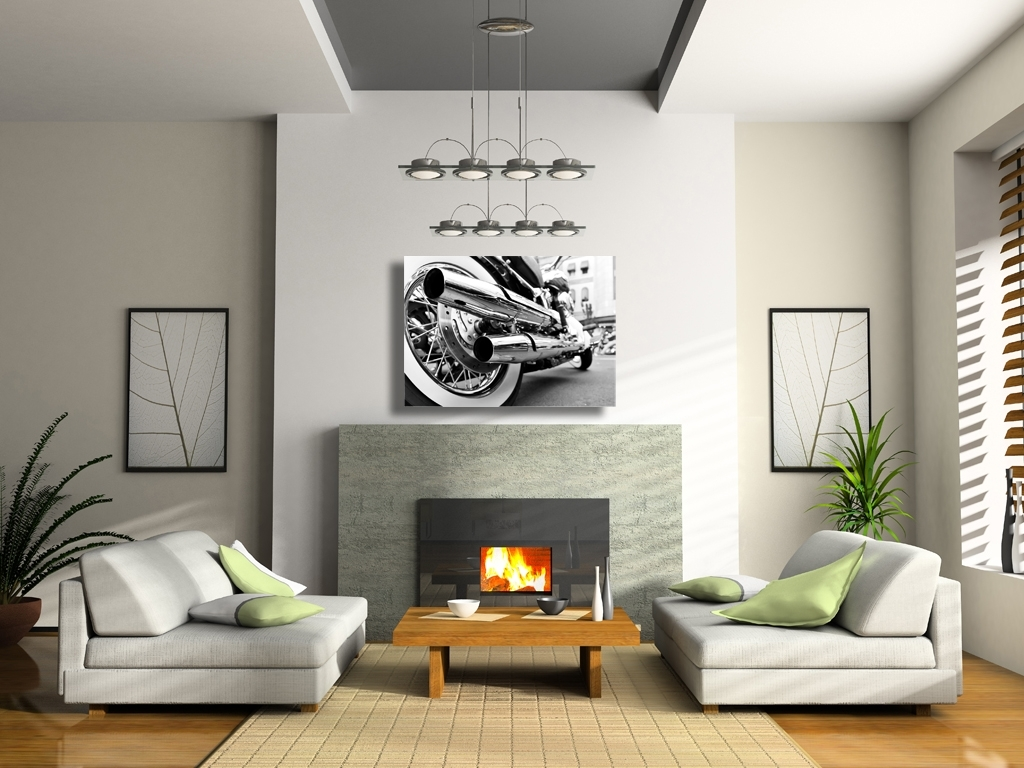 Motorcycle Chrome Pipes Canvas Wall Art With Regard To Most Current Motorcycle Wall Art (View 14 of 20)