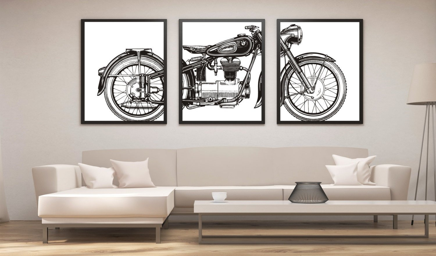 Motorcycle Print Set, Motorcycle Panel Art, Panel Wall Art Pertaining To Latest Motorcycle Wall Art (View 15 of 20)