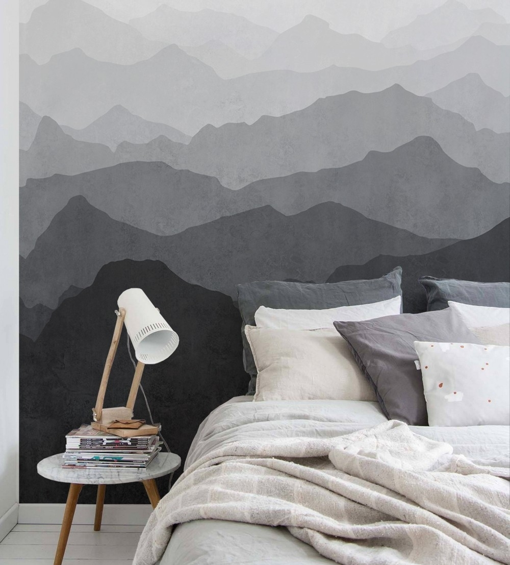 Mountain Mural Wall Art Wallpaper – Black And White – Peel And Stick Throughout Most Up To Date Grey Wall Art (Gallery 15 of 20)