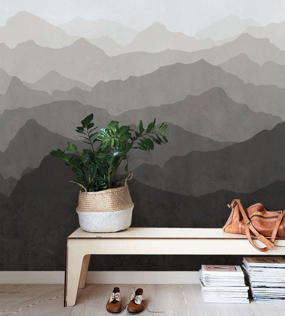 Mountain Mural Wall Art Wallpaper – Warm Grey – Peel And Stick Inside Most Up To Date Stick On Wall Art (View 8 of 20)