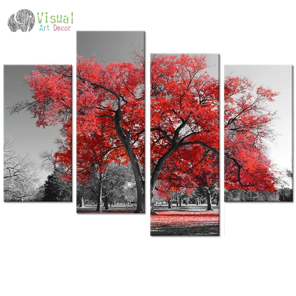 Multi Panel Landscape Canvas Wall Art Pohon Maple Forest Lukisan Inside Best And Newest Multi Panel Wall Art (View 6 of 15)