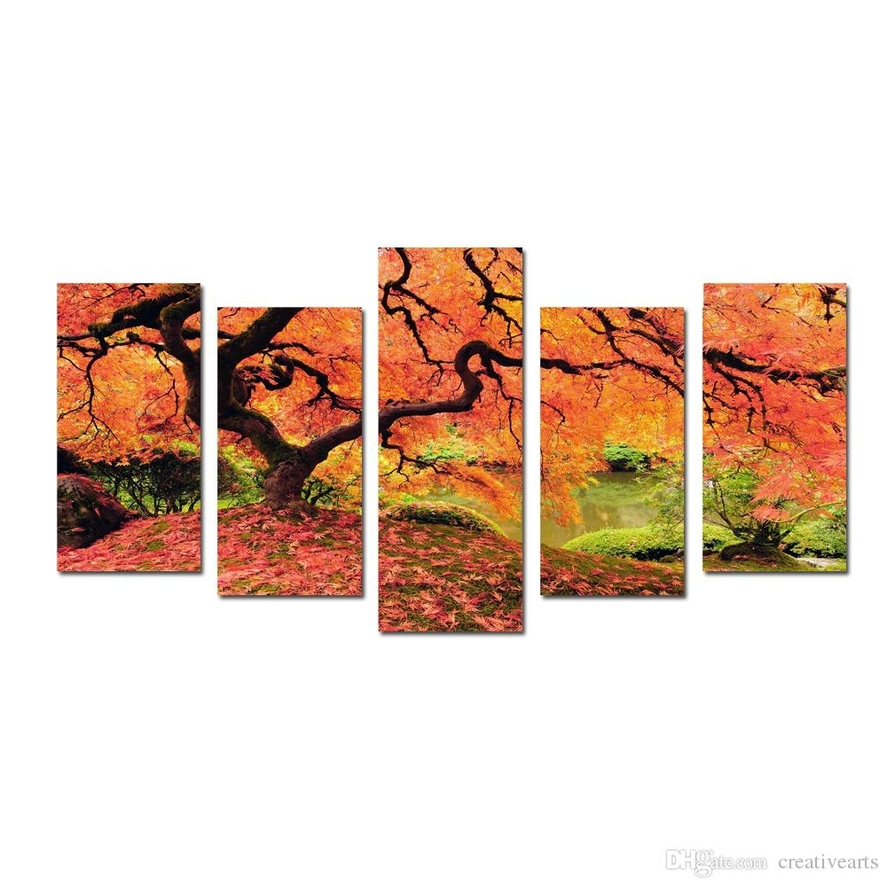 Multi Panel Red Maples Tree Canvas Prints Wall Art Modern Decor Throughout Most Recently Released Multi Panel Wall Art (View 10 of 15)