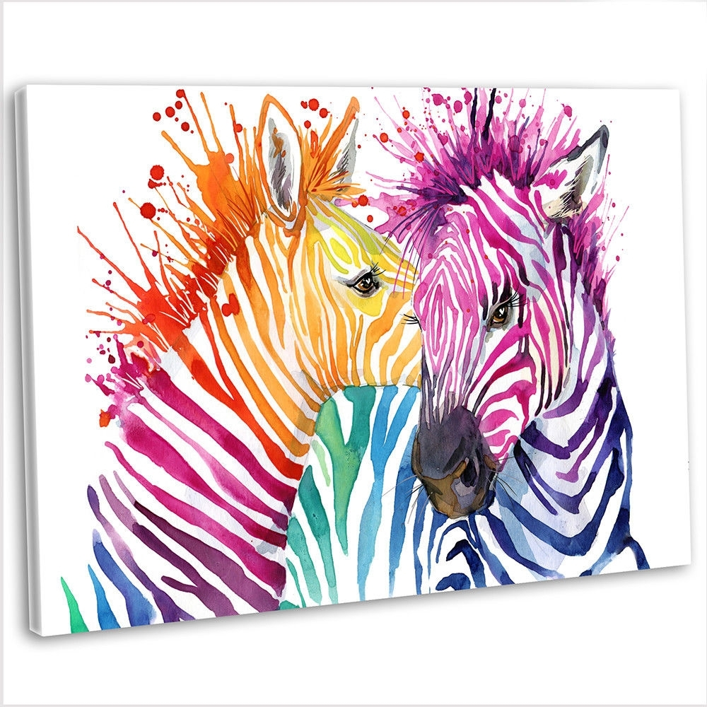Multicoloured Zebra Abstract Canvas Print Framed Animal Wall Art Within Best And Newest Zebra Canvas Wall Art (Gallery 17 of 20)