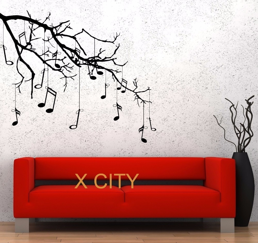 Music Tree Branch Notes Cool Creative Black Wall Art Decal Sticker With Most Recent Stencil Wall Art (View 19 of 20)