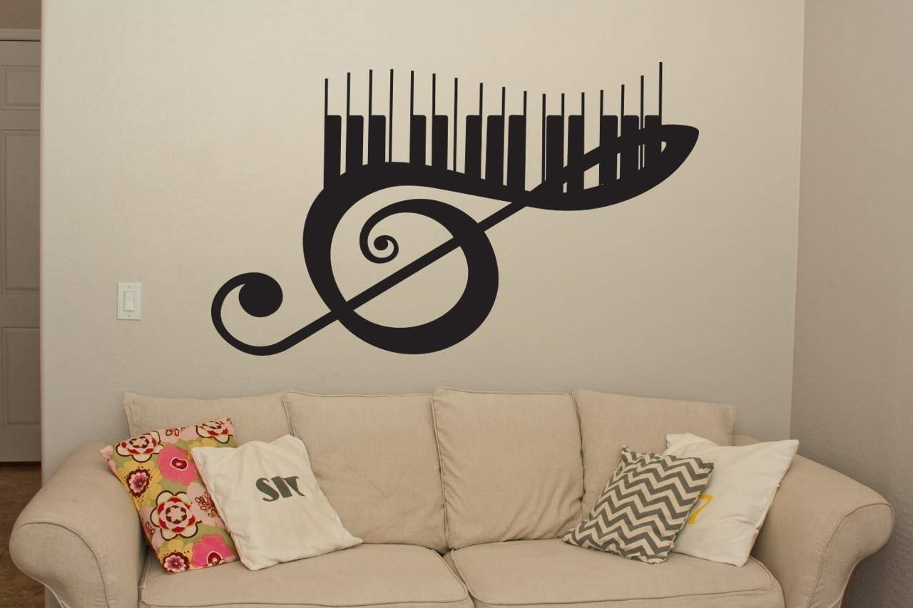 Musical Keyboard Wall Art Decal | Wall Decal | Wall Art Throughout Current Music Wall Art (View 9 of 15)