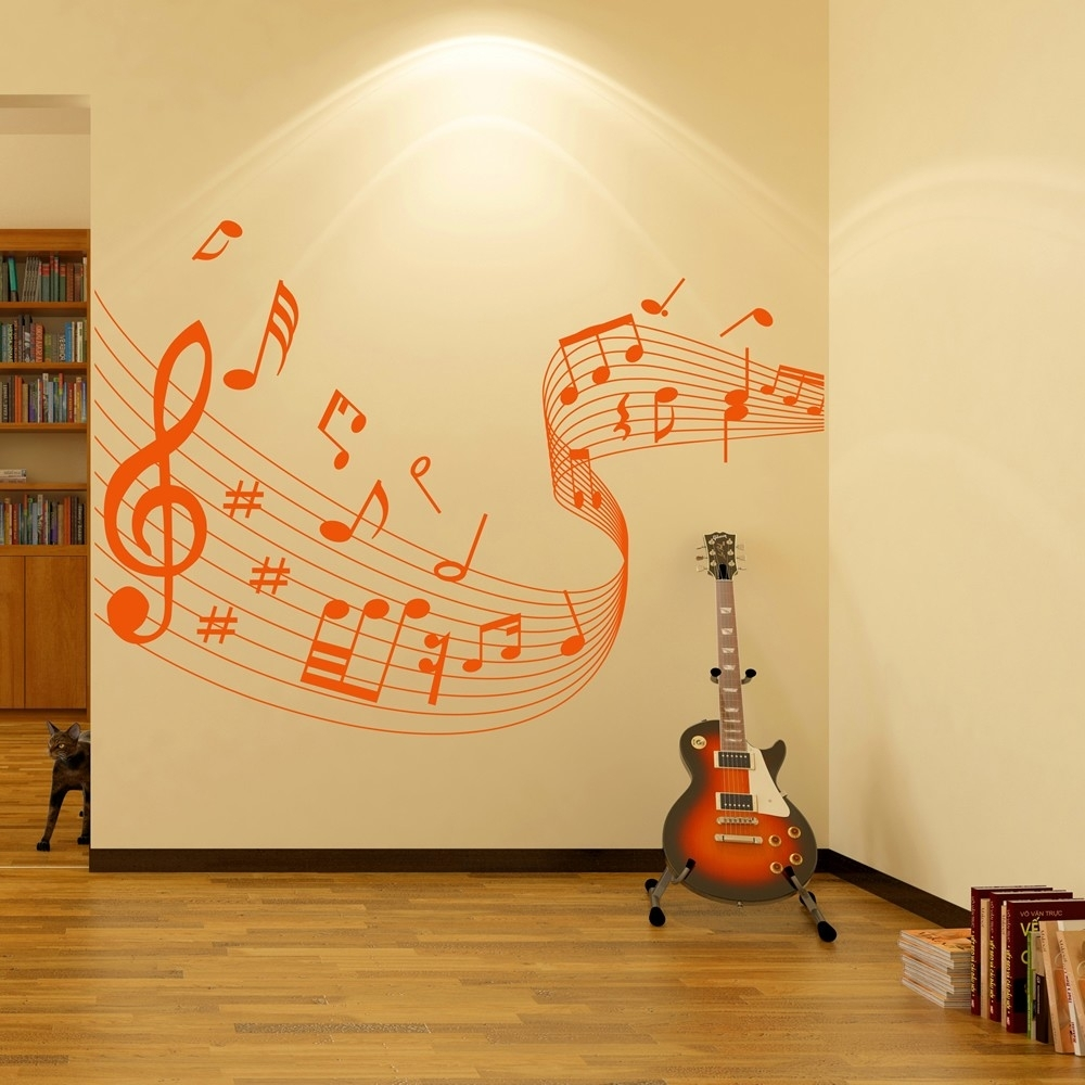 Musical Note Score Wall Stickers Music Wall Art Pertaining To 2017 Music Wall Art (View 3 of 15)