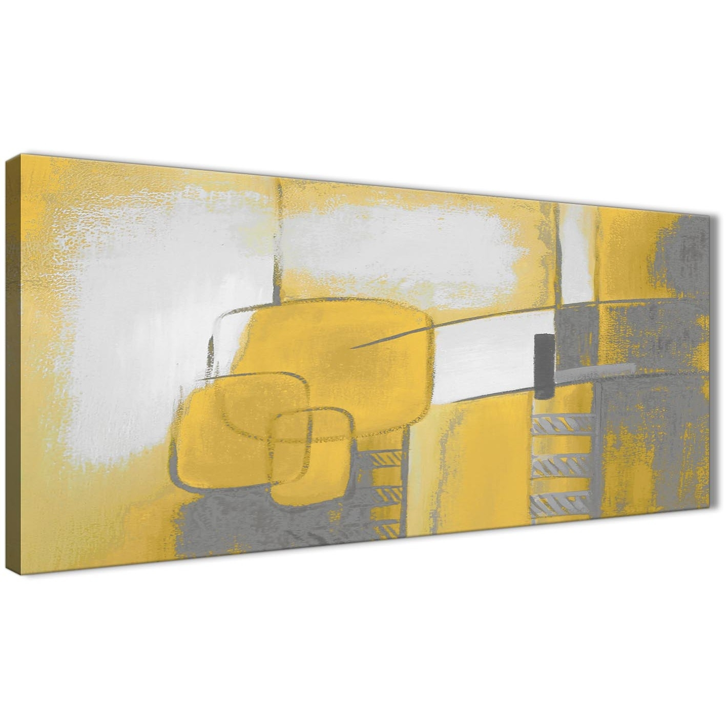 Mustard Yellow Grey Painting Bedroom Canvas Wall Art Accessories For Best And Newest Yellow Wall Art (View 11 of 20)