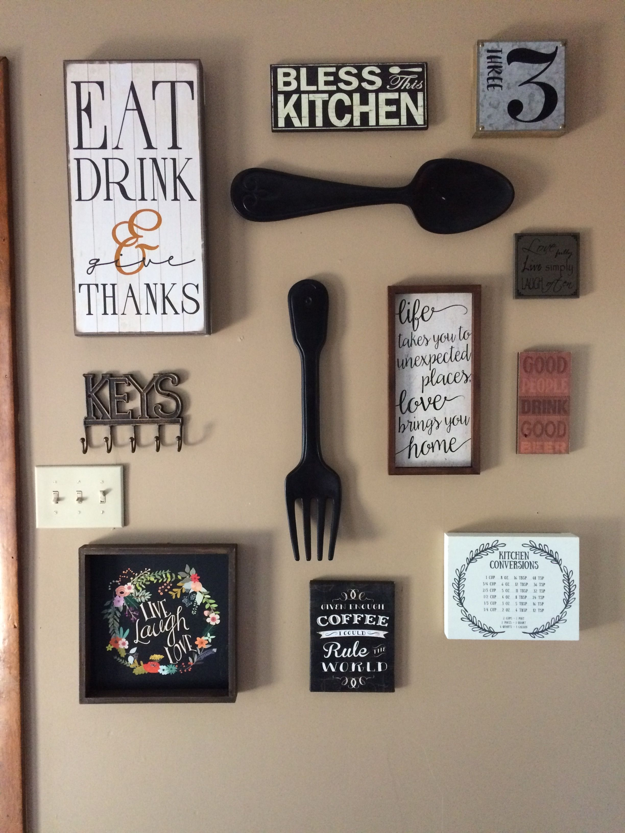 My Kitchen Gallery Wall. All Decor From Hobby Lobby And Ross Inside Newest Hobby Lobby Wall Art (Gallery 4 of 20)