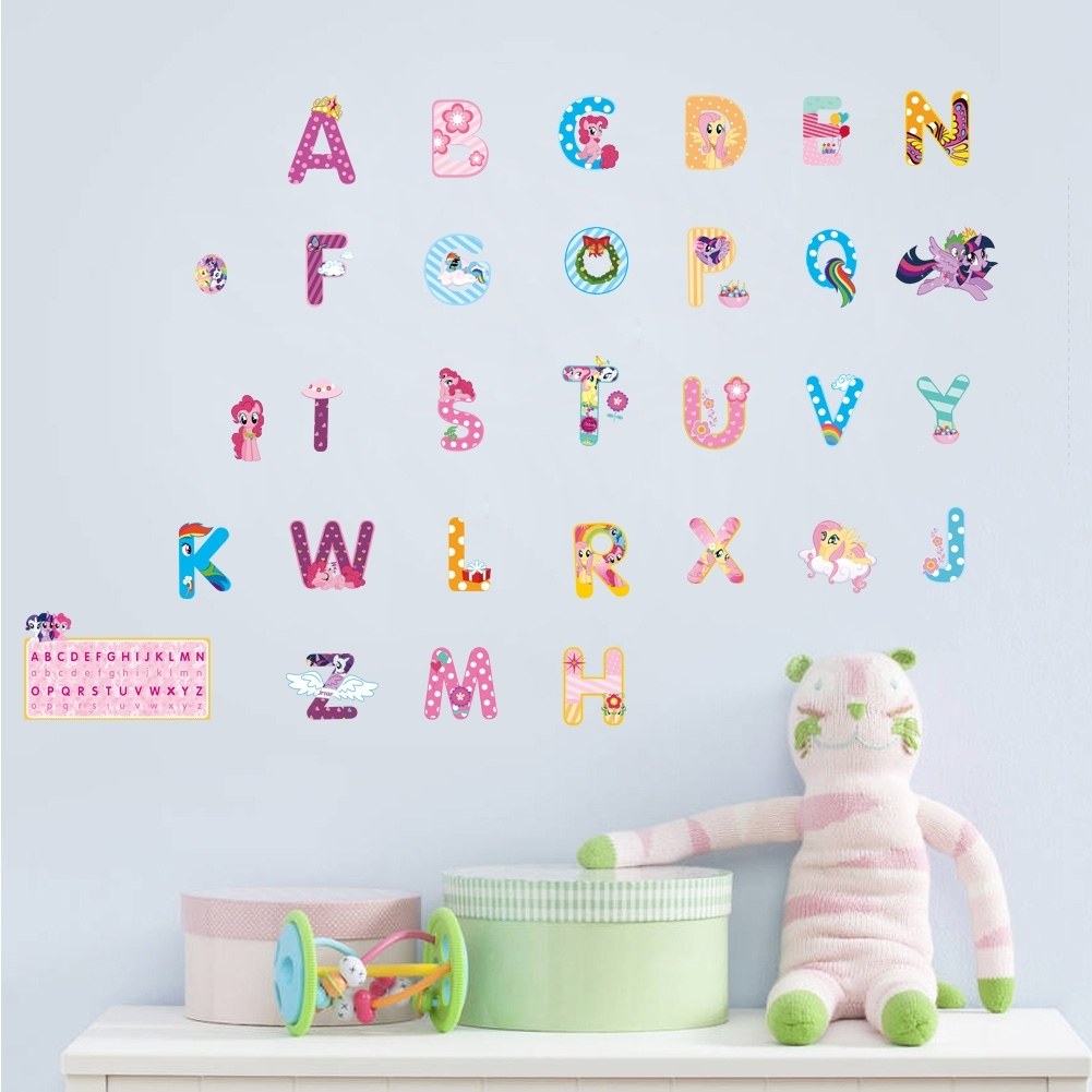 My Little Horse Alphabet Lovely Letters Wall Stickers For Kids Rooms Throughout Recent My Little Pony Wall Art (View 16 of 20)