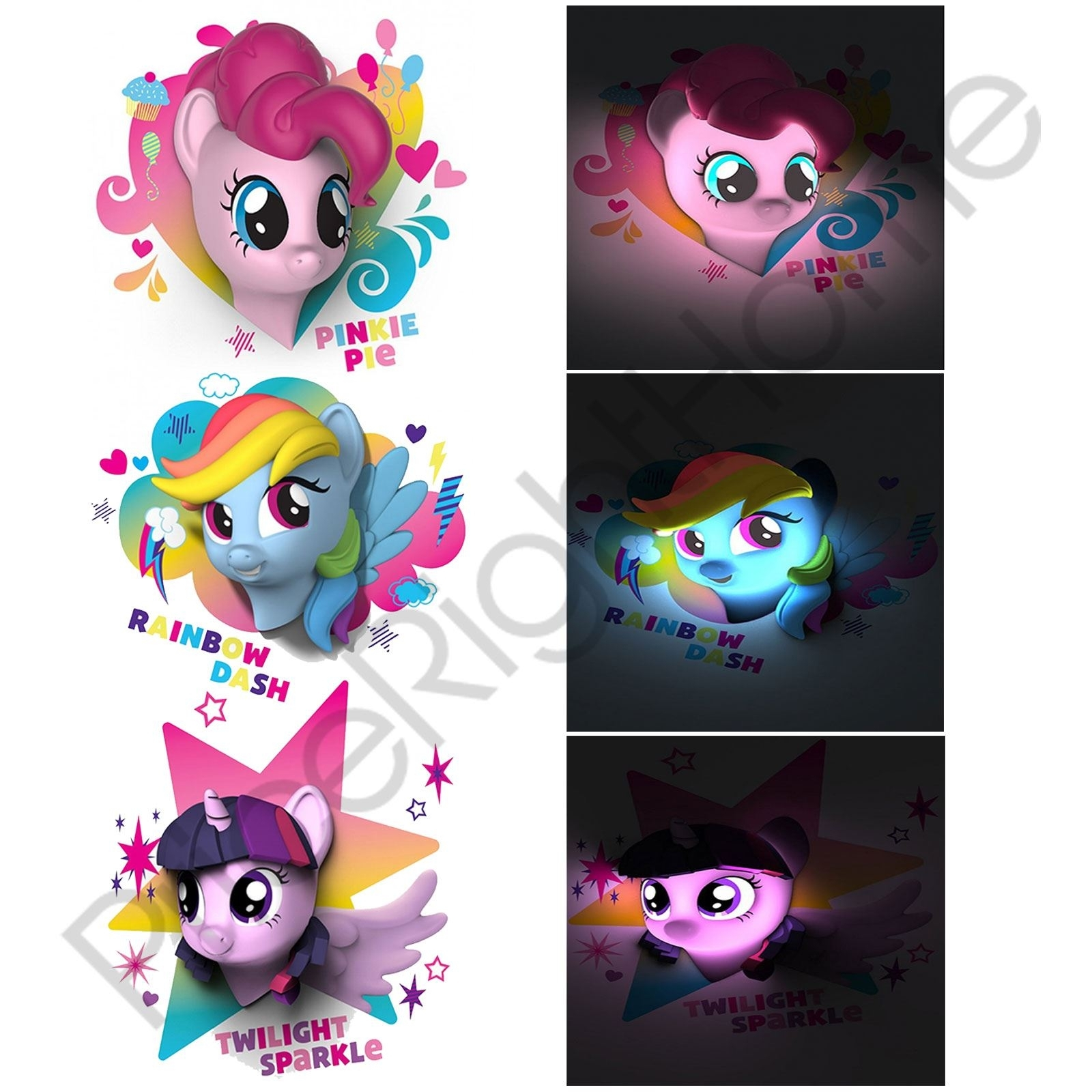 My Little Pony 3D Led Wall Light Pinkie Pie Rainbow Dash Childrens Within Most Popular My Little Pony Wall Art (Gallery 18 of 20)