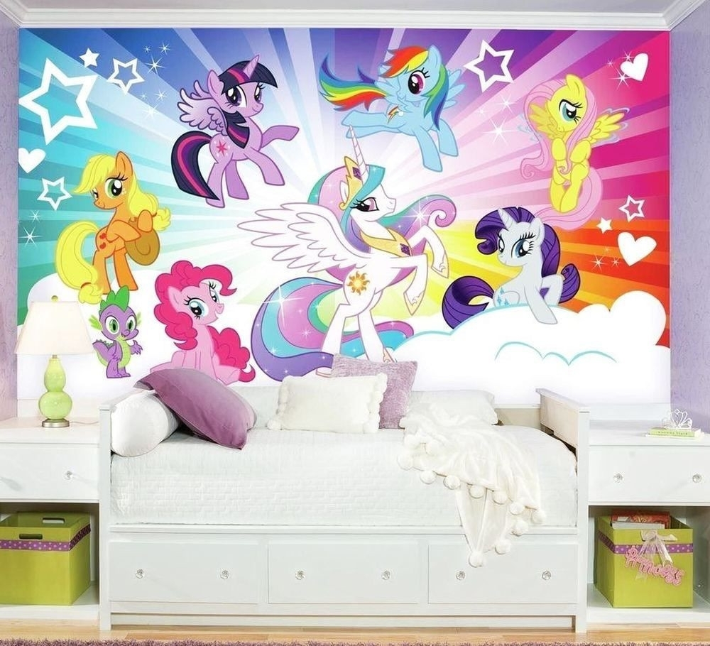 My Little Pony Cloud Burst Xl Chair Rail Wall Mural Wallpaper Design Within Newest My Little Pony Wall Art (Gallery 10 of 20)
