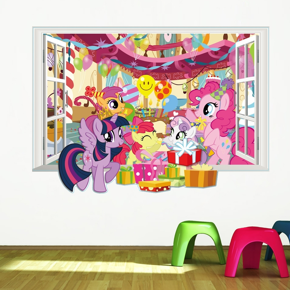 My Little Pony Wall Decals For Kids Room 3D Window Stickers Diy In Most Up To Date My Little Pony Wall Art (View 18 of 20)
