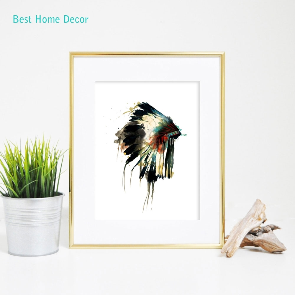 Native Indian American Headdress Art Print Feather Wall Art Wall Intended For Most Up To Date Feather Wall Art (View 11 of 20)